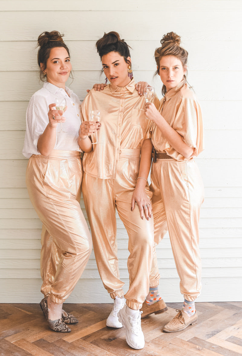 ROSE GOLD GLITTER JOGGER BARRE PANTS
