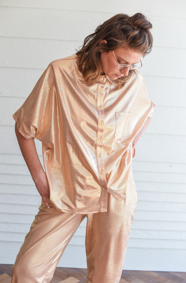 ROSE GOLD GLITTER MYELIN OVERSHIRT