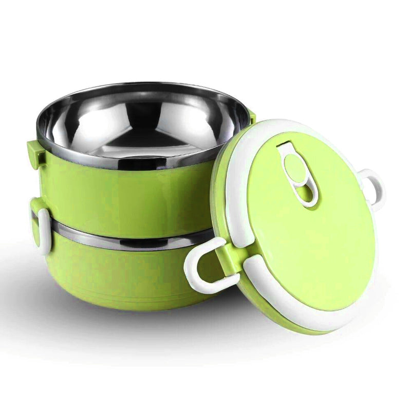 Style Homez Lilly Twin, 304 Stainless Steel Vacuum Insulated Lunch Box with Handle and Dual Layer 2 Compartments, Lime Green Color 1400 ml