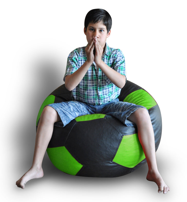 Style Homez Premium Leatherette Football Bean Bag XXL Size Black-Green Color, Cover Only