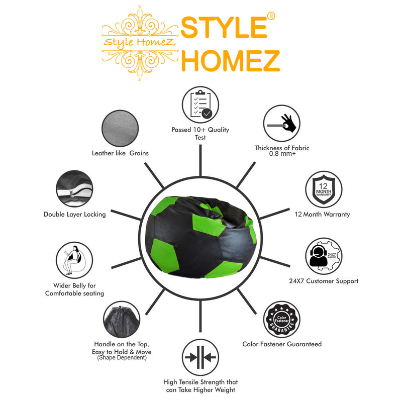 Style Homez Premium Leatherette Football Bean Bag XXL Size Black-Green Color Filled with Beans Fillers