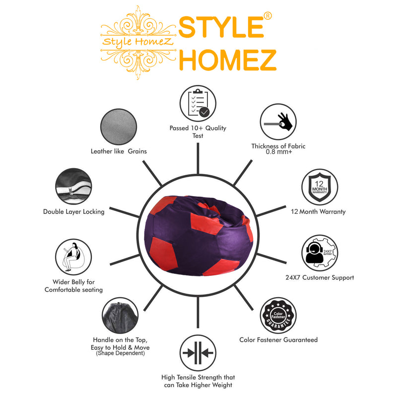 Style Homez Premium Leatherette Football Bean Bag XXL Size Purple-Red Color Filled with Beans Fillers