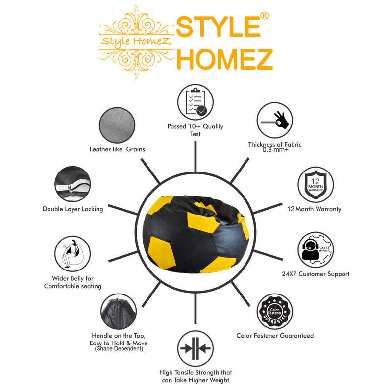 Style Homez Premium Leatherette Football Bean Bag XXL Size Black-Yellow Color, Cover Only