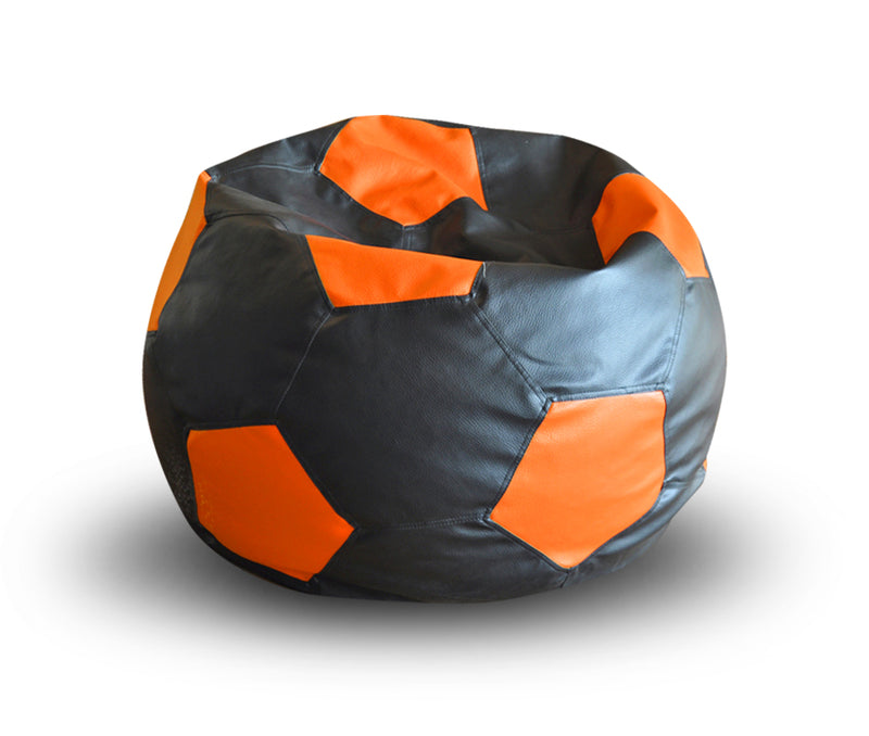 Style Homez Premium Leatherette Football Bean Bag XXL Size Black-Orange Color, Cover Only