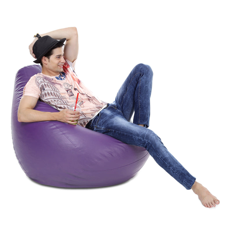 Style Homez Premium Leatherette Classic Bean Bag XXXL Size Purple Color Cover Only
