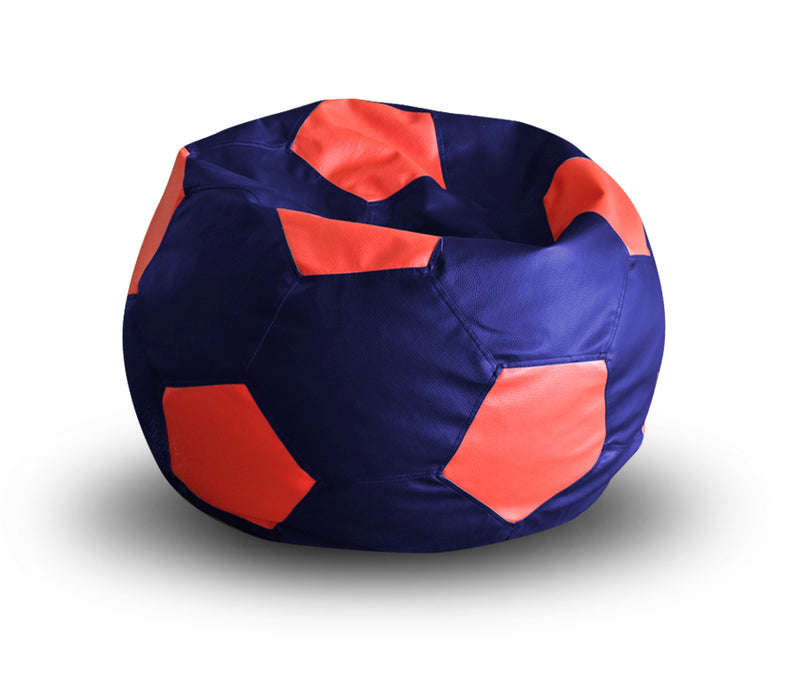 Style Homez Premium Leatherette Football Bean Bag XXL Size Blue-Red Color Filled with Beans Fillers