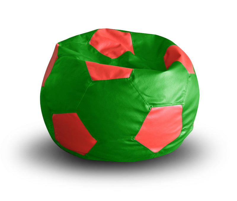 Style Homez Premium Leatherette Football Bean Bag XXL Size Green-Red Color, Cover Only