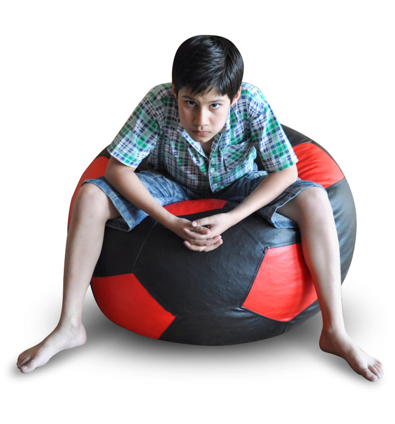 Style Homez Premium Leatherette Football Bean Bag XXL Size Black-Red Color Filled with Beans Fillers