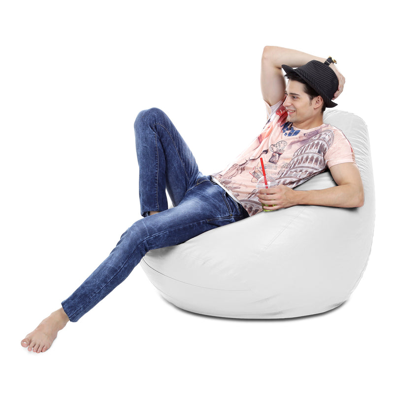 Style Homez Premium Leatherette Classic Bean Bag XXXL Size White Color Cover Only