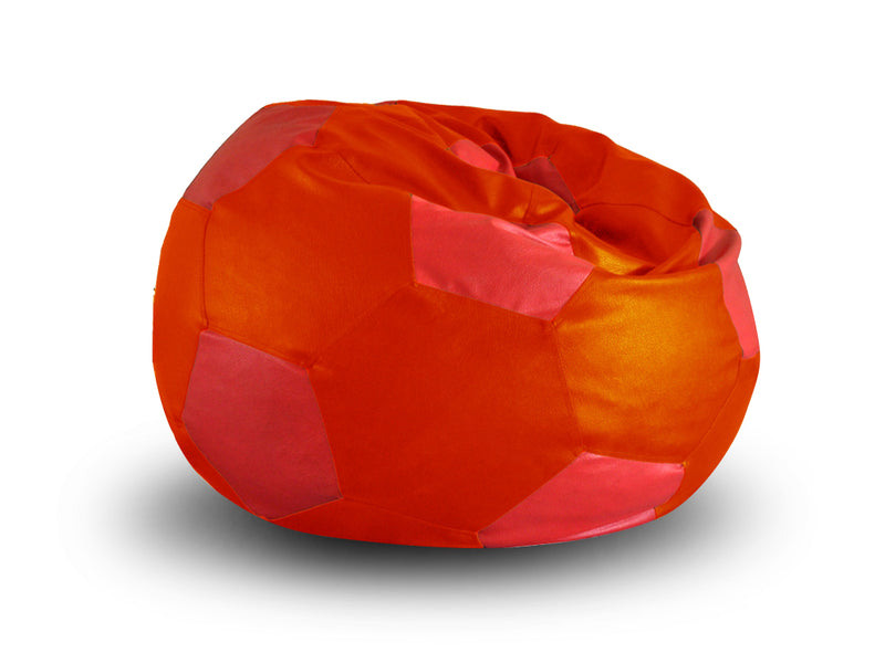 Style Homez Premium Leatherette Football Bean Bag XXL Size Orange-Red Color, Cover Only
