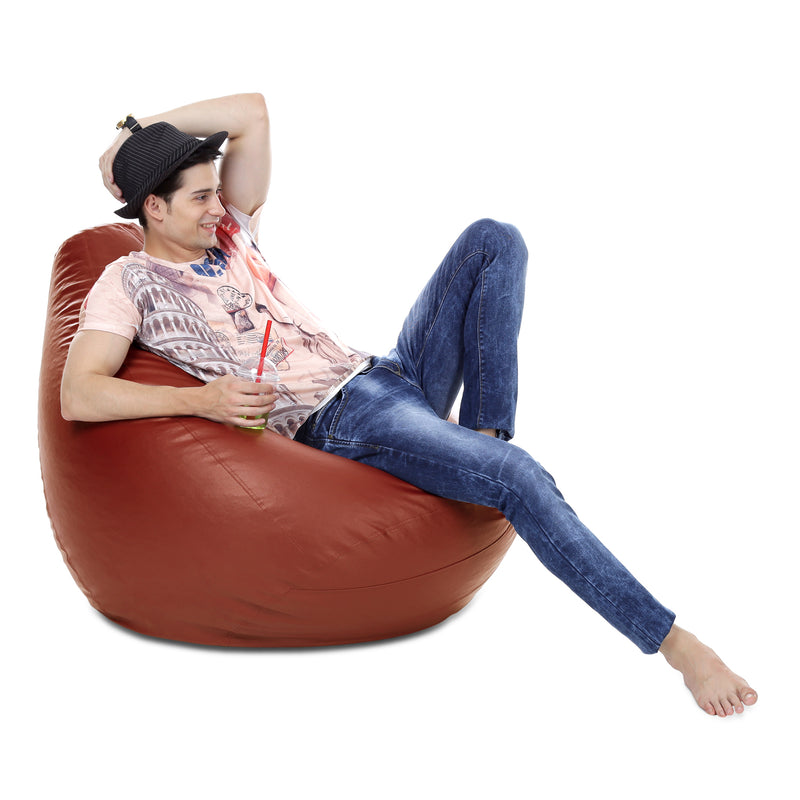 Style Homez Premium Leatherette Classic Bean Bag XXXL Size TAN Color Cover Only