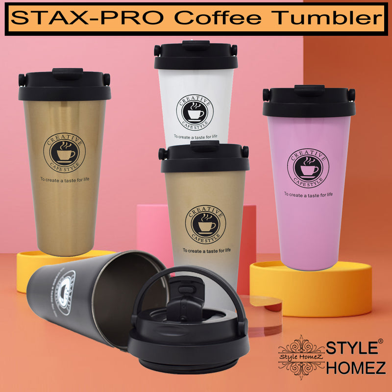 Style Homez STAX-PRO Coffee Tumbler, Double Wall Stainless Steel Vacuum Insulated With Safety Lock, Gold Color 500 ml Hot n Cold