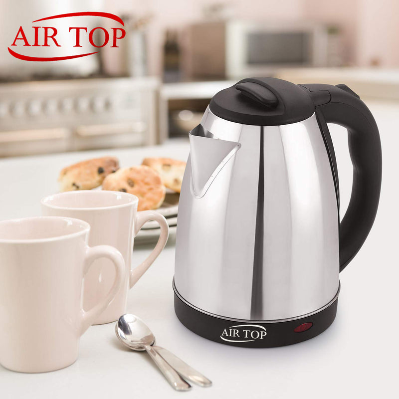 AIRTOP Classic Auto-Cut Electric Kettle 1000 Watt Silver Black Color 1.8 Litre (1800 ml)