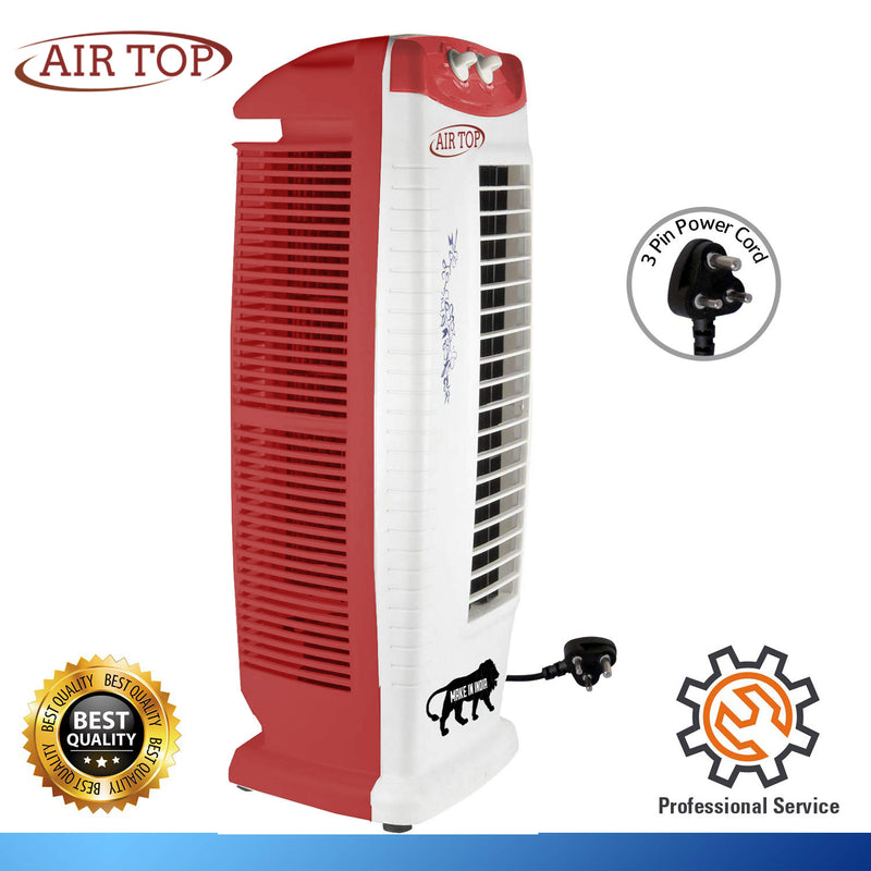 AIRTOP  Tower Fan with 25 Feet Air Delivery High Speed Swing & Anti Rust Body Red White Color
