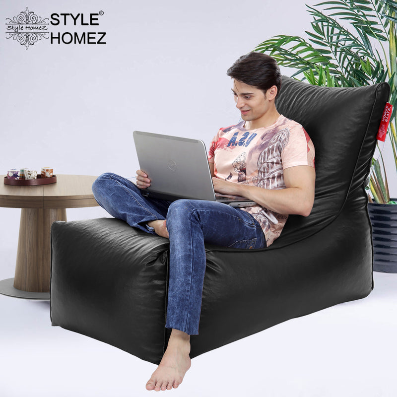Style Homez Alexa Luxury Lounge XXXL Bean Bag Black Color Filled with Beans
