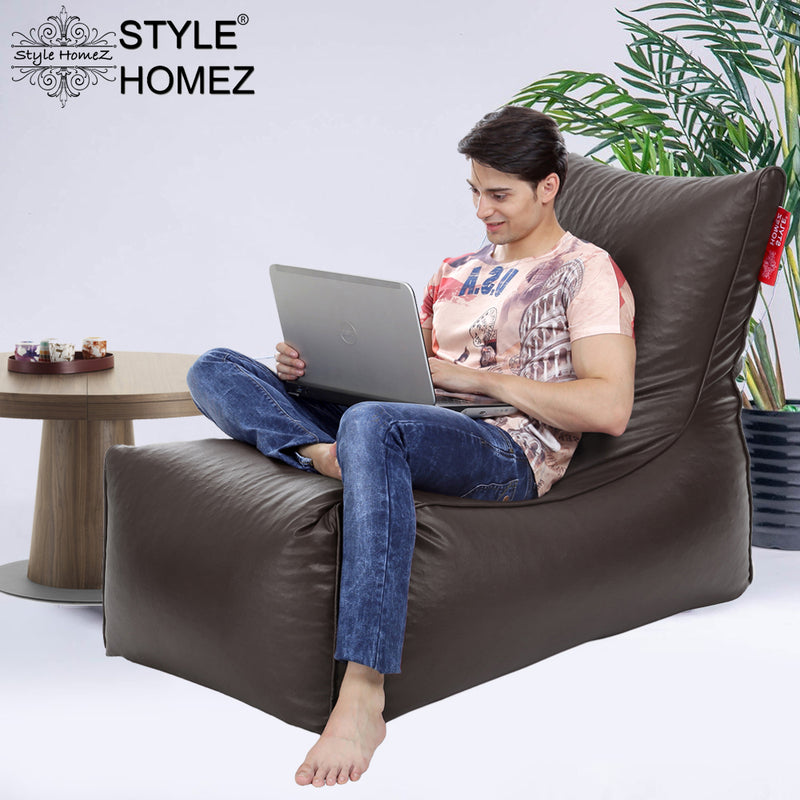 Style Homez Alexa Luxury Lounge XXXL Bean Bag Chocolate Brown Color Filled with Beans