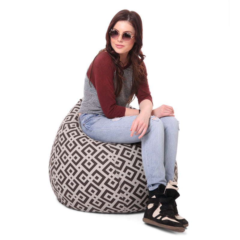 Style Homez Classic Cotton Canvas Geometric Printed Bean Bag XL Size Cover Only