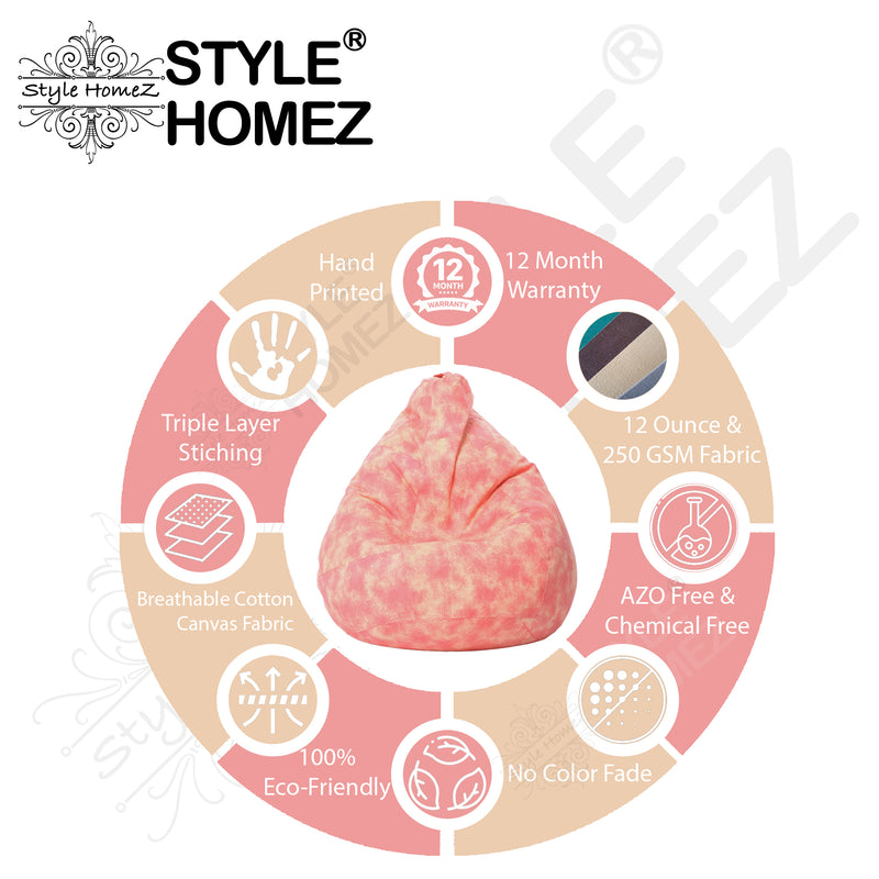 Style Homez Classic Cotton Canvas Abstract Printed Bean Bag XL Size Cover Only