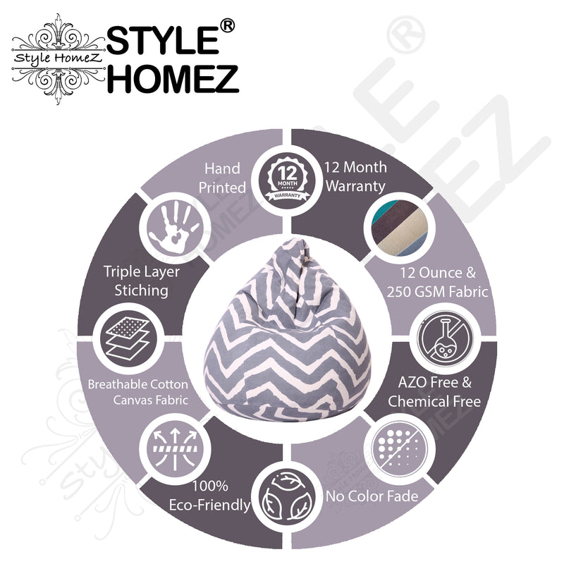 Style Homez Classic Cotton Canvas Stripes Printed Bean Bag XL Size Cover Only