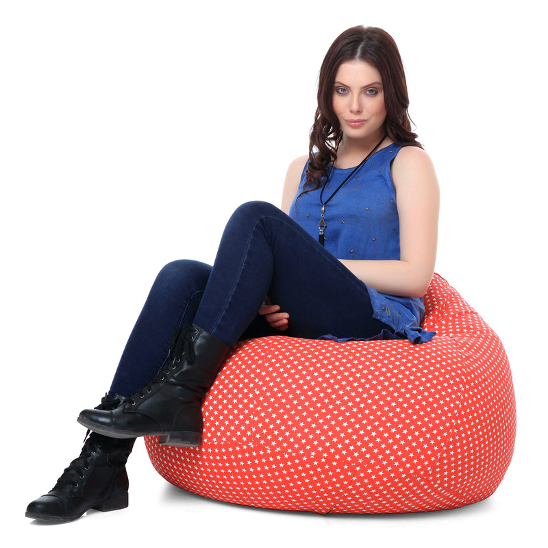 Style Homez Classic Cotton Canvas Star Printed Bean Bag XL Size Cover Only