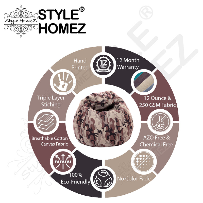 Style Homez Classic Cotton Canvas Camouflage Printed Bean Bag XL Size Filled with Beans Fillers