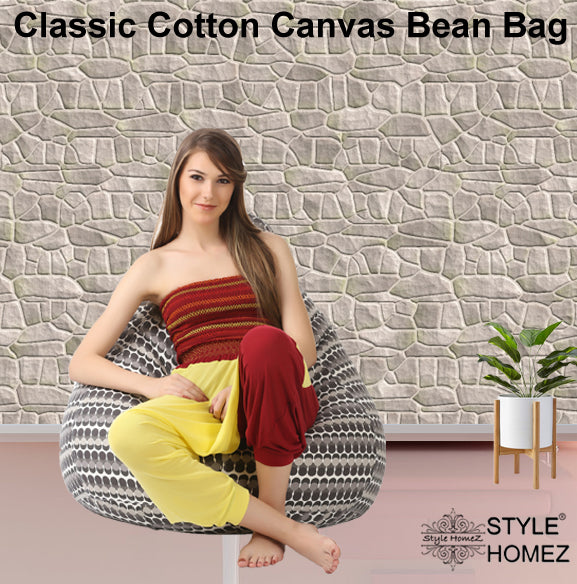Style Homez Classic Cotton Canvas Polka Dots Printed Bean Bag XXL Size with Fillers