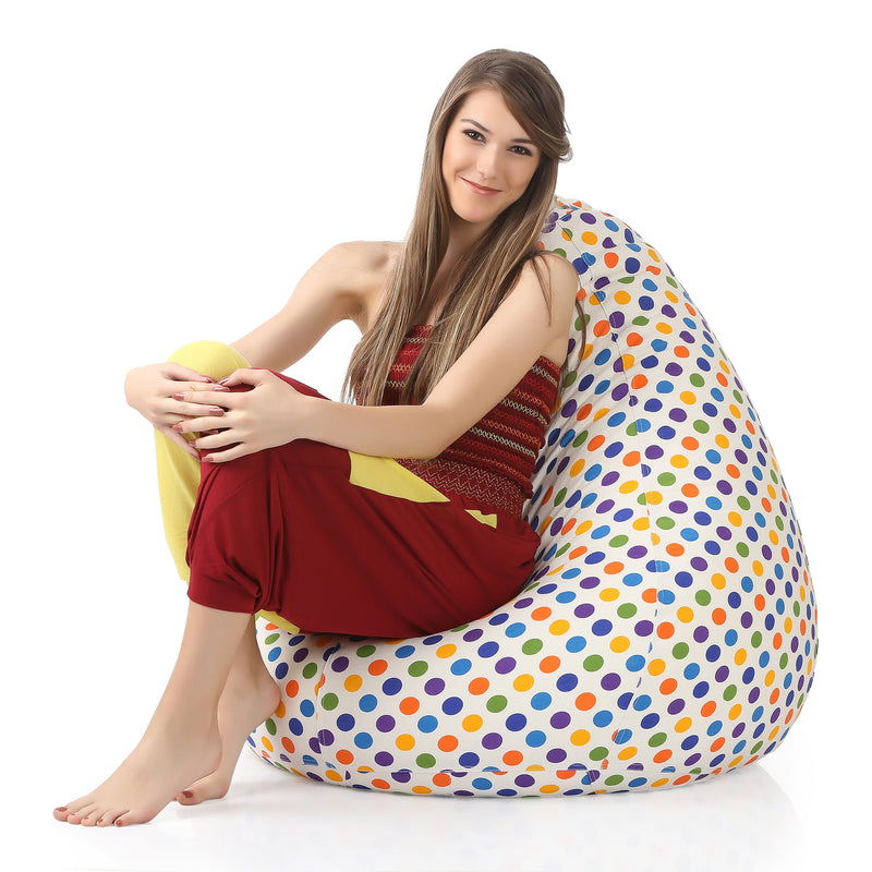 Style Homez Classic Cotton Canvas Polka Dots Printed Bean Bag XXL Size Cover Only