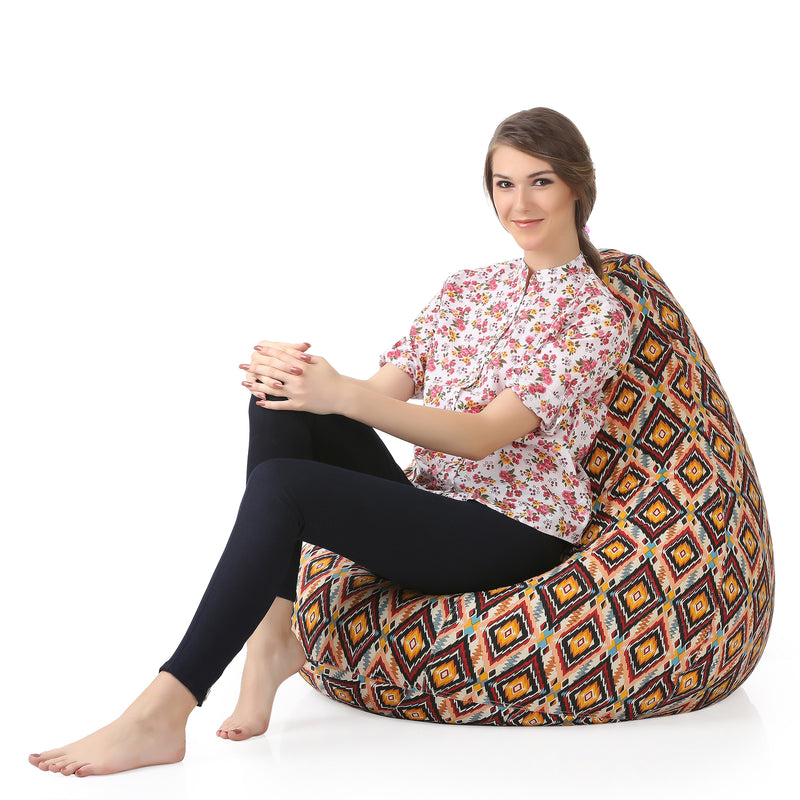 Style Homez Classic Cotton Canvas Geometric Printed Bean Bag XXL Size Cover Only