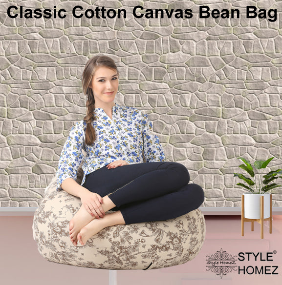Style Homez Classic Cotton Canvas Abstract Printed Bean Bag XXL Size Cover Only
