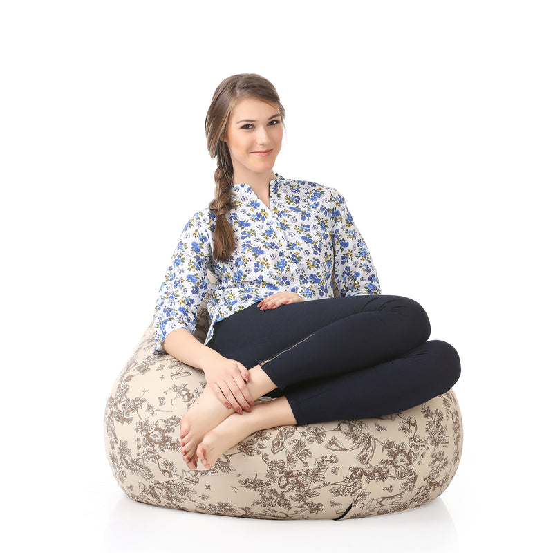 Style Homez Classic Cotton Canvas Abstract Printed Bean Bag XXL Size with Fillers