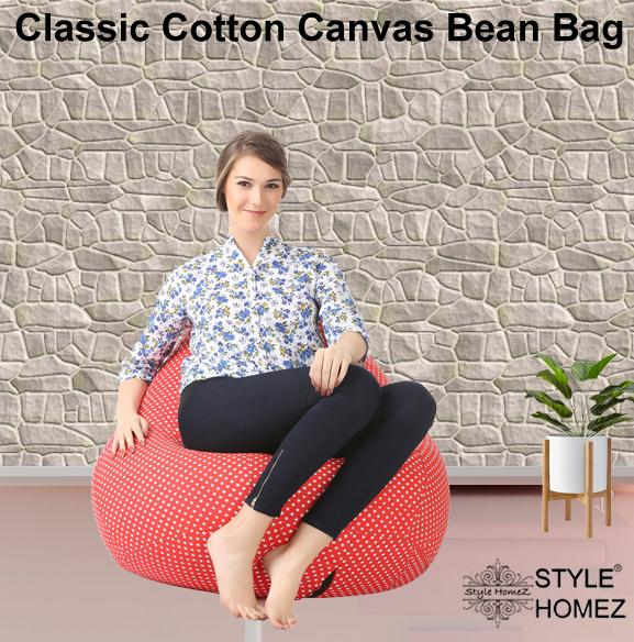 Style Homez Classic Cotton Canvas Star Printed Bean Bag XXL Size with Fillers
