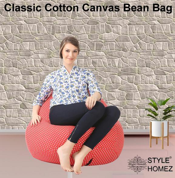 Style Homez Classic Cotton Canvas Star Printed Bean Bag XXL Size Cover Only