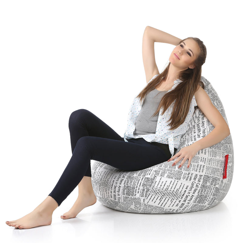 Style Homez Classic Cotton Canvas Newspaper Printed Bean Bag XXL Size Cover Only