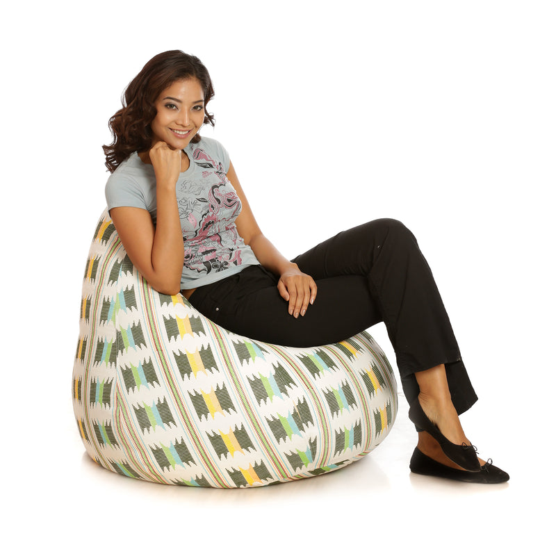 Style Homez Classic Cotton Canvas IKAT Printed Bean Bag XXL Size With Fillers