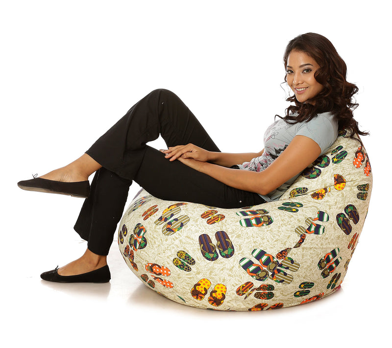 Style Homez Classic Cotton Canvas Abstract Printed Bean Bag XXL Cover Only