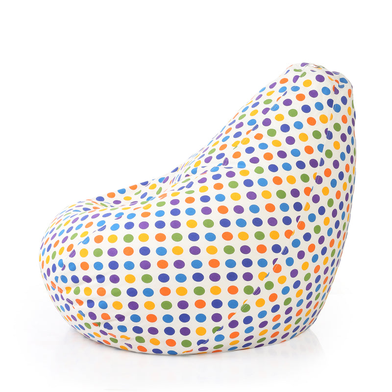Style Homez Classic Cotton Canvas Polka Dots Printed Bean Bag XXXL Size Cover Only