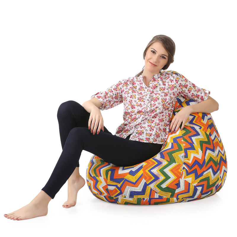 Style Homez Classic Cotton Canvas Geometric Printed Bean Bag XXXL Size Cover Only