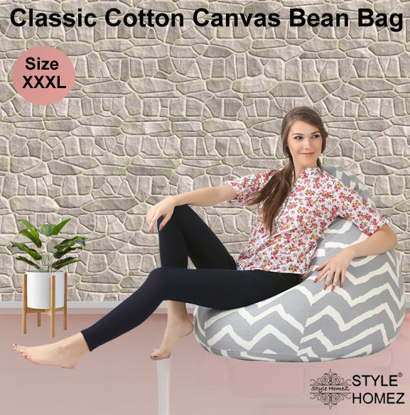 Style Homez Classic Cotton Canvas Stripes Printed Bean Bag XXXL Size Cover Only