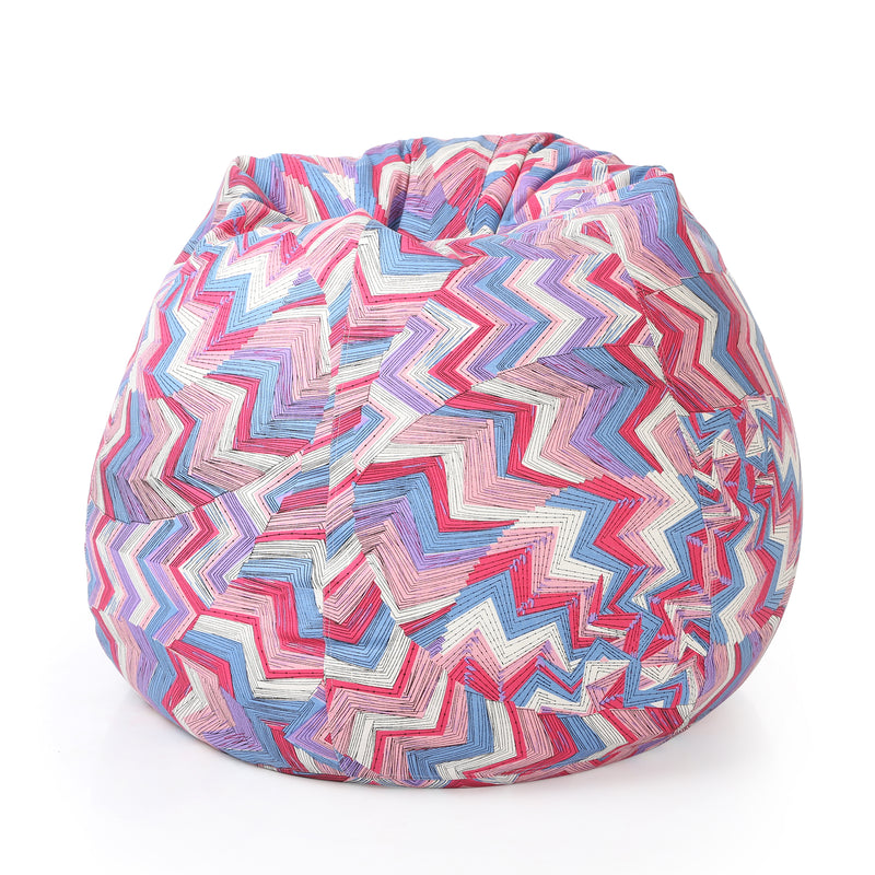 Style Homez Classic Cotton Canvas Geometric Printed Bean Bag XXXL Size with Bean Refill Fillers