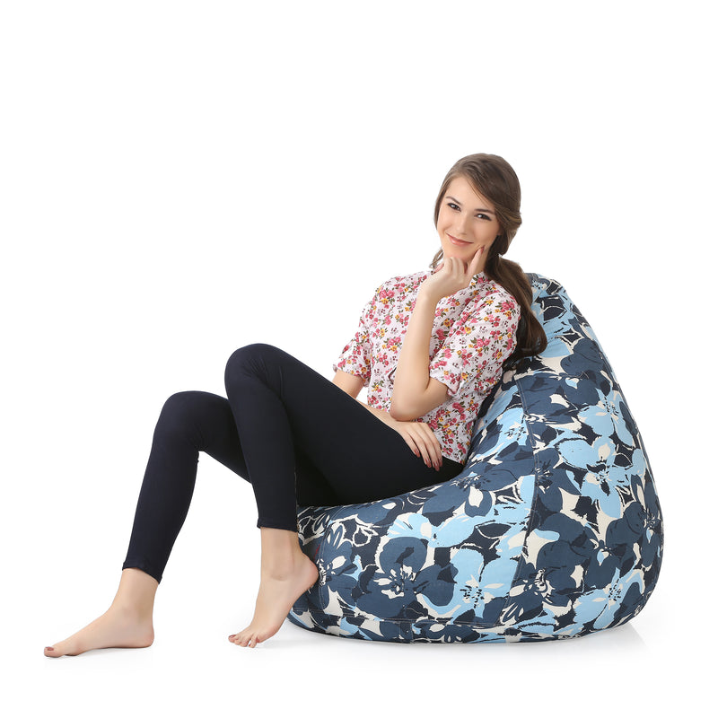 Style Homez Classic Cotton Canvas Floral Printed Bean Bag XXXL Size Cover Only