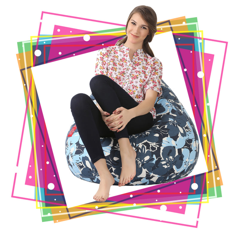 Style Homez Classic Cotton Canvas Floral Printed Bean Bag XXXL Size with Bean Refill Fillers