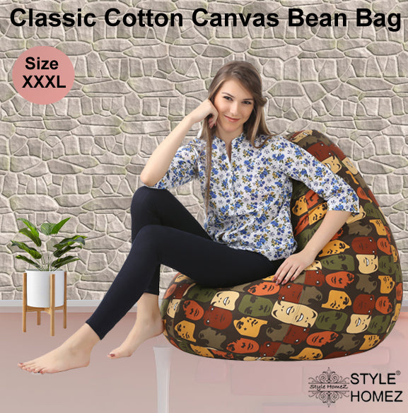 Style Homez Classic Cotton Canvas Abstract Printed Bean Bag XXXL Size Cover Only