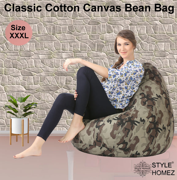 Style Homez Classic Cotton Canvas Camouflage Printed Bean Bag XXXL Size Cover Only