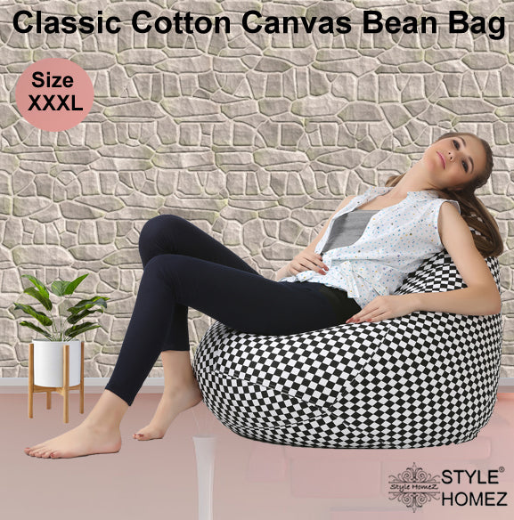 Style Homez Classic Cotton Canvas Checker-ed Printed Bean Bag XXXL Size with Bean Refill Fillers