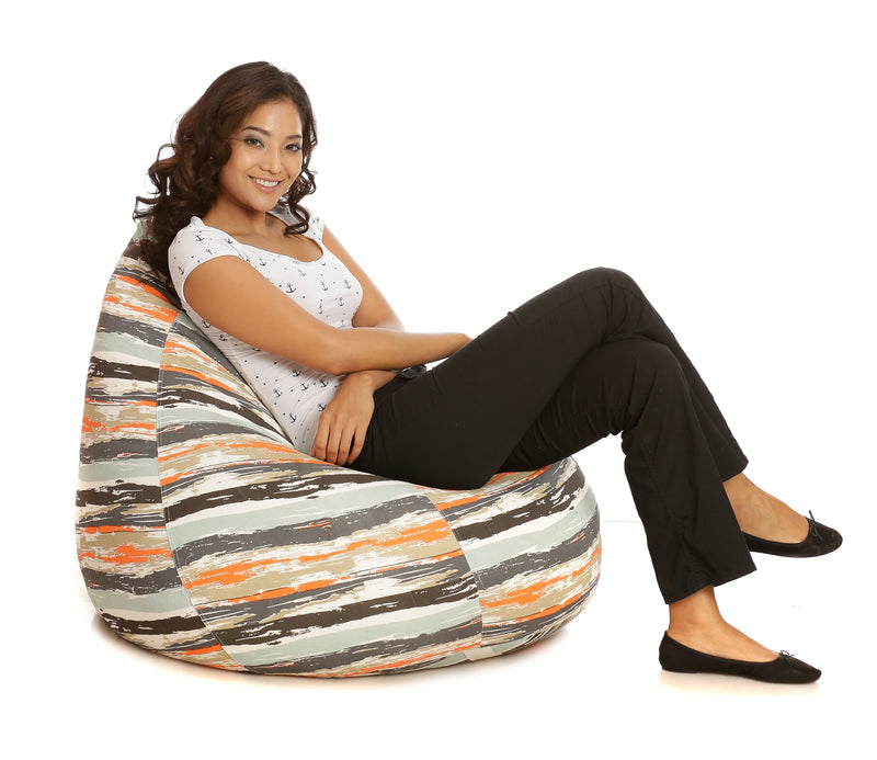 Style Homez Classic Cotton Canvas Stripes Printed Bean Bag XXXL Size with Bean Refill Fillers