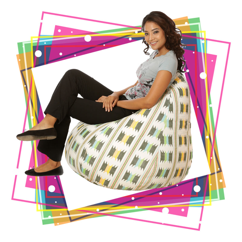 Style Homez Classic Cotton Canvas IKAT Printed Bean Bag XXXL Cover Only