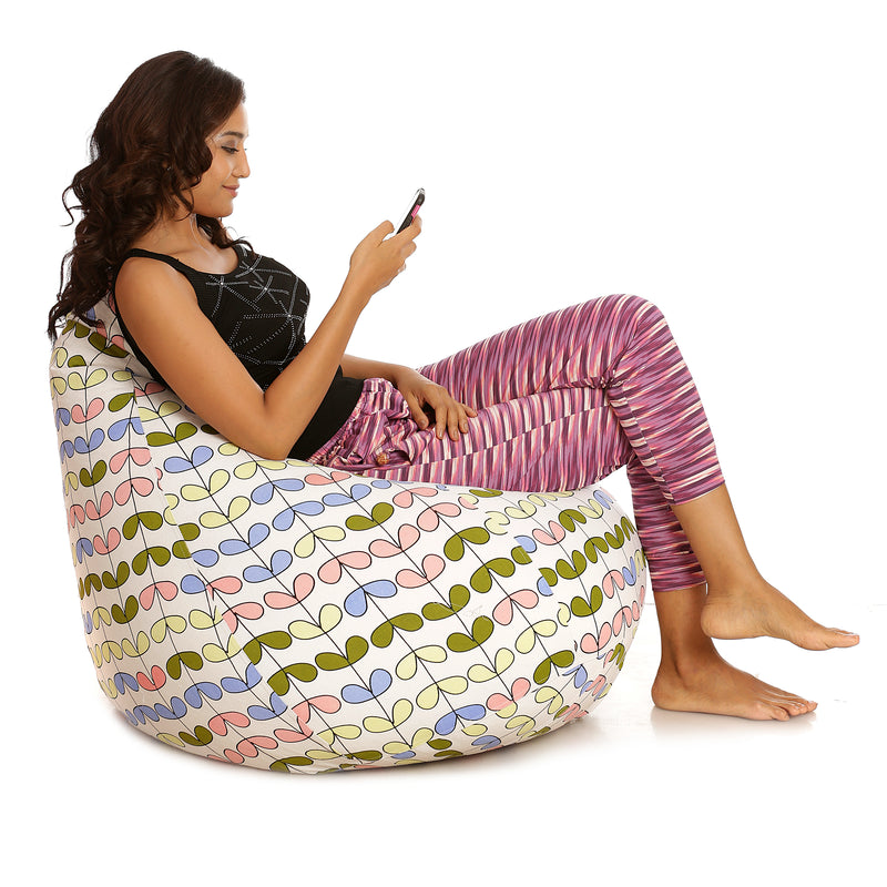 Style Homez Classic Cotton Canvas Abstract Printed Bean Bag XXXL Size with Bean Refill Fillers
