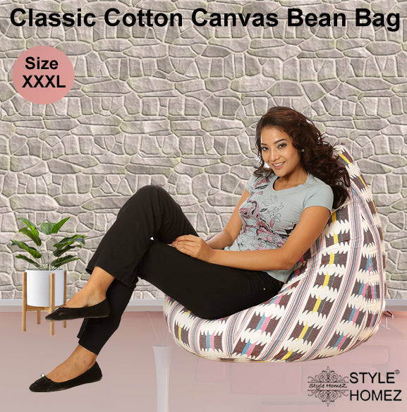 Style Homez Classic Cotton Canvas IKAT Printed Bean Bag XXXL Size with Bean Refill Fillers