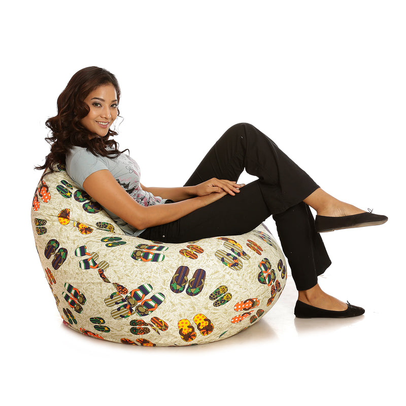 Style Homez Classic Cotton Canvas Abstract Printed Bean Bag XXXL Cover Only