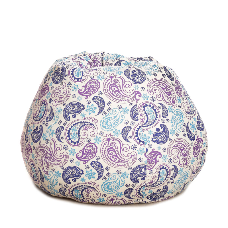 Style Homez Classic Cotton Canvas Paisley Printed Bean BagXXXL Size with Bean Refill Fillers